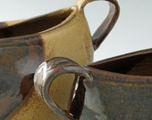 Rustic Stoneware Pottery Vase Set in Tan and Spicy Brown