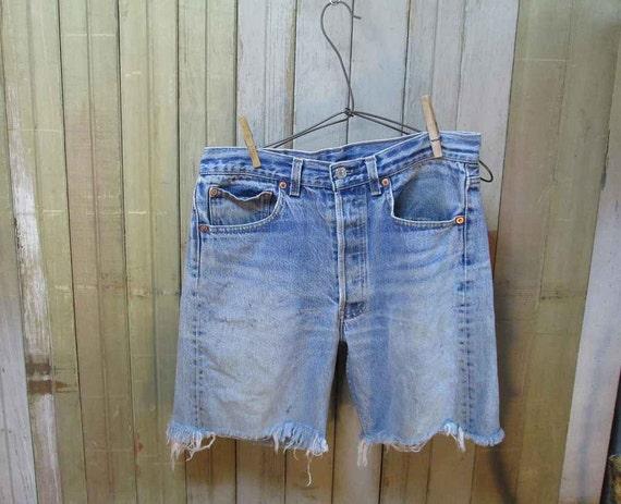 Vintage 501 Levis  Cutoffs blue denim  Cut Off Shorts worn faded Made in USA  jeans 32