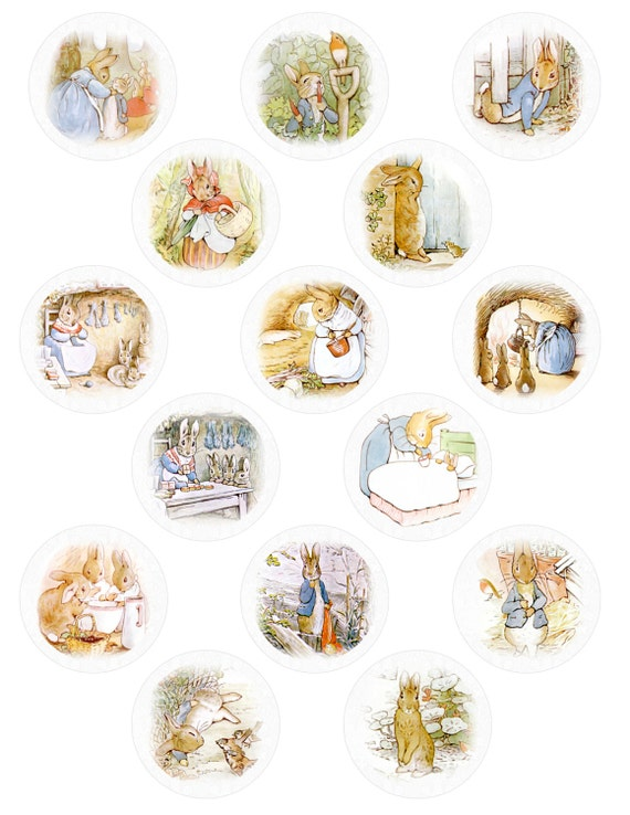 digital download of 15 peter rabbit cupcake toppers by ...
