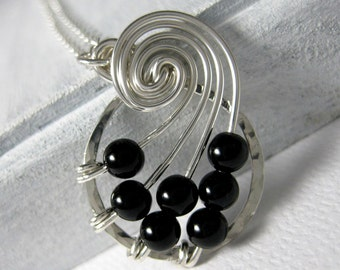 Math Jewelry Black Onyx Fibonacci Nautilus Necklace STERLING SILVER Wire Wrapped Jewelry