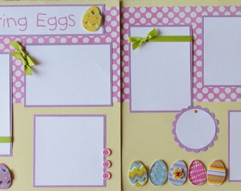 COLORING easter EGGS 12x12 Premade Scrapbook Pages - Egg Dying