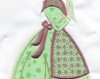 Victorian Lady set of 4, GREEN machine embroidered quilt squares