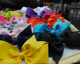 "Simple Hairbows - Buy 5 Get 1 FREE - You Pick Colors - Flat Pinwheel Hairbow - 4.5"" Girls Hair Clips - Basic Hair Bows -  Large Hair Bow Set"