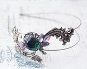 Brass double headband emerald jewel vintage style art nouveau glamour head piece bronze filigree
