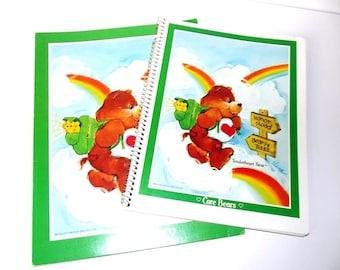 Care Bears Tenderheart Bear Notebook and Folder Vintage 80's Back to School Office Supplies Old School Portfolio Mead