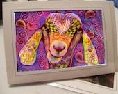 greeting card print of original art- colorful goat Zentangle