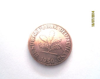Coin tie tac~German Oak leaf tie tac/lapel pin/golf marker