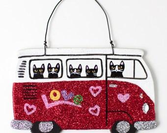 Glittery Road Trip Bus Clay Cat Folk Art Ornament