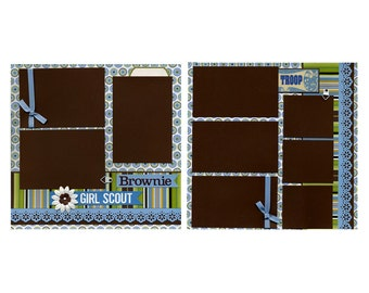 12x12 Premade Scrapbook Page - Brownie Girl Scout