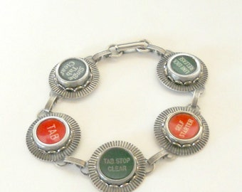 Typewriter Key Jewelry, Bracelet, Red and Green Function Keys,  Retro. Recycyled. Reclaimed. Vintage
