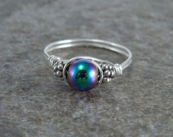Magnetic Hematite Sterling Silver Bali Bead Ring - Any Size