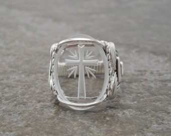 Sterling Etched Cross Glass Cabochon Wire Wrapped Ring