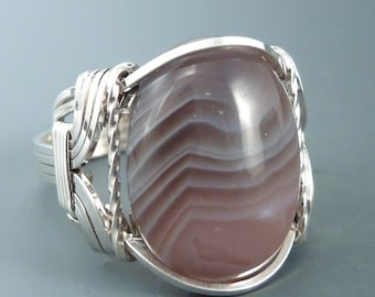Sterling Silver Botswana Agate Cabochon Wire Wrapped Ring
