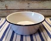 SALE* Vintage White Enameled Farm to Table Metal Bowl