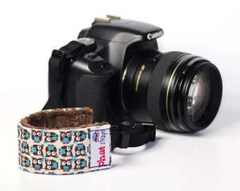 Camera  Wrist Strap - Wristlet- Wrist Strap DSLR- Tiny Owls in Blue with Chocolate minky