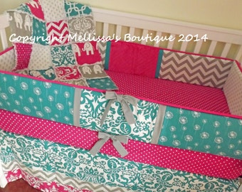 Custom Designer Turquoise/Aqua Grey & Hot Pink MOD Chevron Damask and Dots Complete Boutique 4-Piece Crib Bedding Set MADE To ORDER