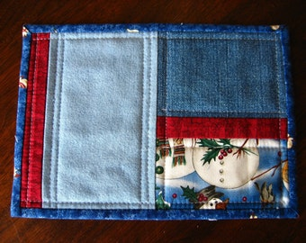 "Mug Rug, blue denim and snowmen with red trim, 9"" x 6 1/2"""