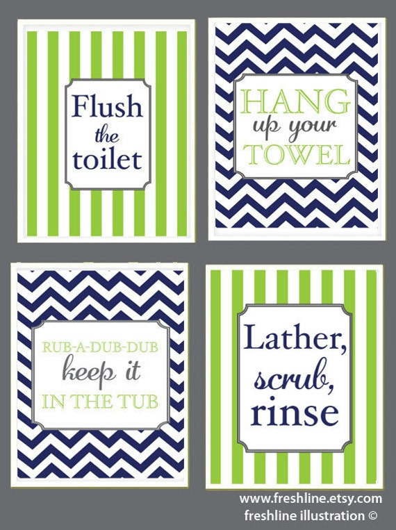 Items similar to kids bathroom cute sayings flush the for Cute sayings for bathroom walls