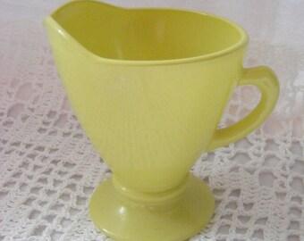 Vintage Anchor Hocking Yellow Milk Glass Creamer Pitcher