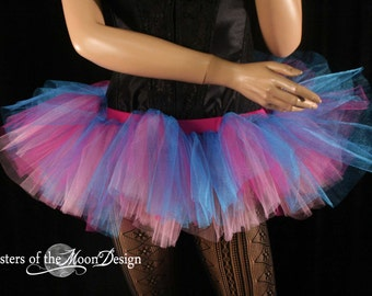 Tutu skirt Adult Glimmer Peek a boo mini dance costume halloween roller derby EDC gogo run - Ready to ship - Medium- Sisters of the Moon