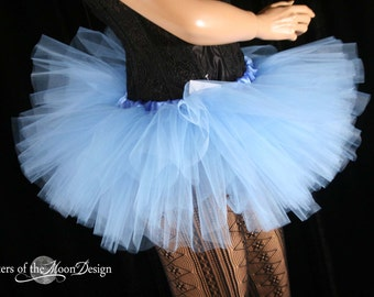 Adult tutu Mini micro french blue Peek a boo style skirt dance costume roller derby gogo bachelorette -You Choose Size- Sisters Of the Moon