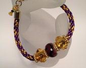 Custom Order for ZEZEBEADZ Purple and Gold Kumihimo Bracelet