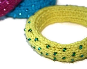 Dew Drop Knitted Bangle Bracelet in Chartreuse (Acid) Yellow - Large