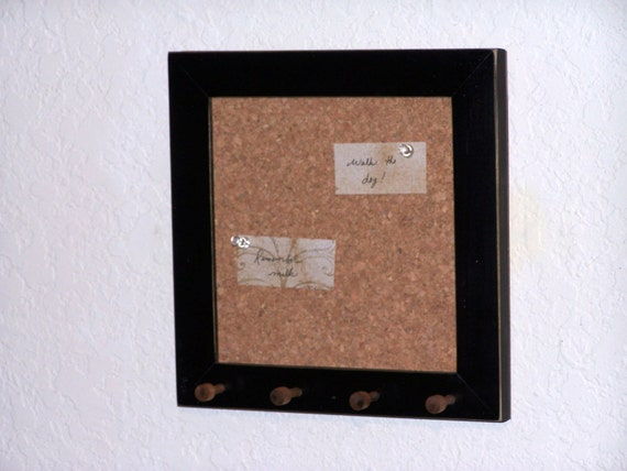 Items similar to wood frame cork bulletin board key rack for Cork board with hooks