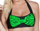 Cyndy Bow Top Green Zebra Print