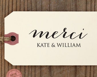 "Merci Thank You CUSTOM STAMP for Thank You Tag, diy wedding, favor gift tag, thank you card, wedding favors, personalized stamper ""Merci"""