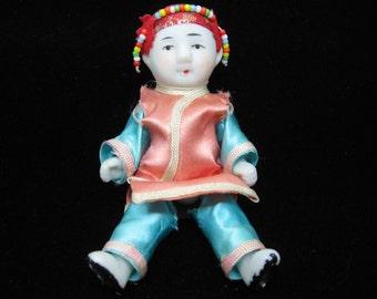 SALE Vintage Bisque Asian Oriental Boy Doll