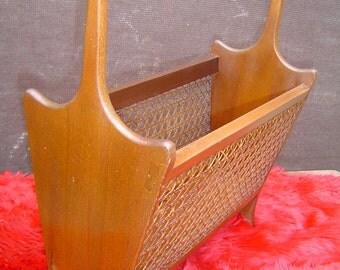 Vintage Mid Century Danish Modern Cane and Walnut Wood Magazine Rack