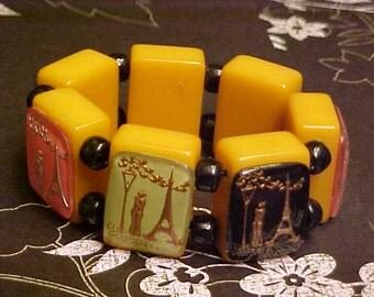 Signed Jan Carlin Designer bakelite Vintage Paris Eiffel Tower Lovers Bracelet