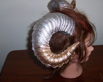 Silver Gold Ombre Ram Horns roller Derby Demon Renaissance Festival
