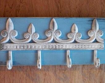 Cottage Farmhouse Style Shabby Iron Fleur de lis Wood Coat Hanger
