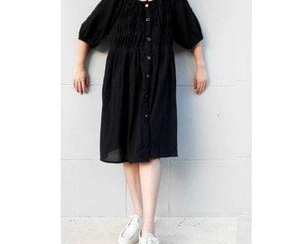 Black Soft Cotton Pleated  Boho Short Loose Short Tunic Dress  S-L  (L 1)