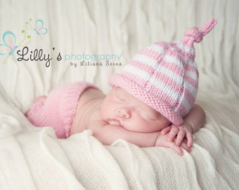 Pink and White Stripe Hat with Top Knot and Knitted Pants with ribbing Newborn and Newborn to 3 months sizes