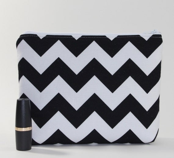 Divided Cosmetics Bag - 2 Compartments - Chevron Stripes in Black