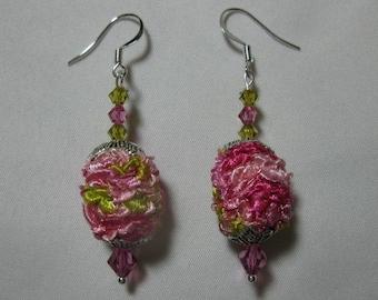 Handknit pink ribbon yarn earrings with Swarovski crystals
