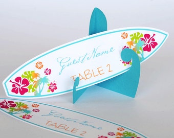 Set of 10 Tropical Hibiscus Beach Hawaiian Surfboard Wedding/Party Place Cards