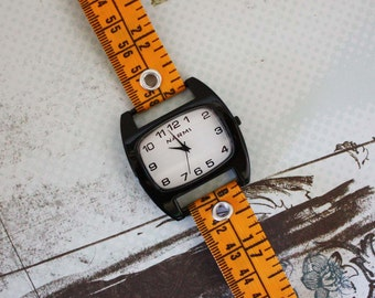 Tape Measure Watch in Orange - Black Face - Statement Jewelry created with Upcycled Measuring Tape