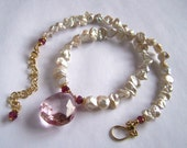 Rock Crystal, Pink Tourmaline, Keshi Pearl Necklace Gold Vermeil Regal Royal Chic Romantic Elegant Simple Bijoux PinkOwlJewelry Jewellery