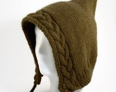 Cable Knit Hood in Army Green - Free Shipping