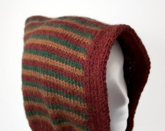 Striped Hood in Brown/Green/Burgundy  - Free Shipping