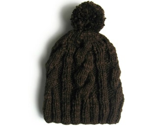 Pom Beanie, Brown Wool, Chunky Knit Hat, Cables Beanie, Wool Hat, Pom Pom Beanie, Womens Beanies, Mens Beanie, Winter Hat Man, Cute Beanie