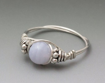 Blue Lace Agate Bali Sterling Silver Wire Wrapped Bead Ring - Made to Order, Ships Fast!