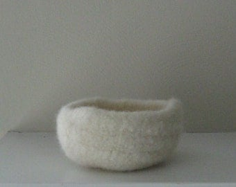 Natural White Felted Art Bowl - In Stock - Ready to Ship