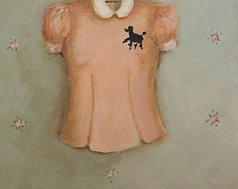 poodle blouse painting original ooak retro fashion art 50's