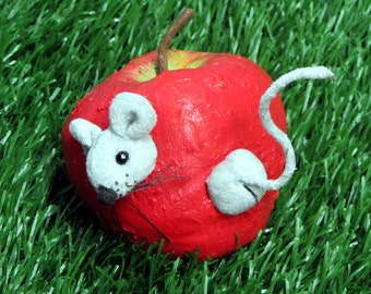 Primitive Mouse in a Soft Sculpture Apple