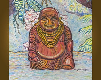Art Painting - Happy Buddha -- 20 x 20 inch original painting by Elizabeth Graf on Etsy